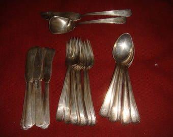 """Antique Sterling Silver Flatware Dessert Set  Service for 8 Monogrammed """"E"""" 26 pcs."""