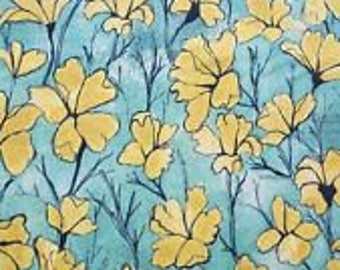 Michael Miller Fabric Daylilies in Yellow 1/2 Yard from the Cosmos Collection by Laura Gunn