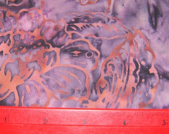 Purple and Fuchsia Cotton Batik Fabric