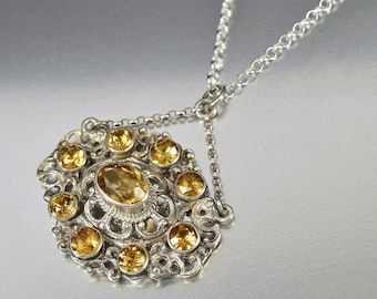 Antique Silver Citrine Necklace, Edwardian Sterling Silver Filigree Pendant, Austro Hungarian Dainty Necklace Anniversary Gift Yellow Stone