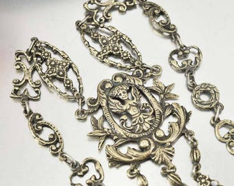 Antique Peruzzi Necklace | Victorian Silver Necklace | Gothic Cherub Necklace | Statement Necklace | Italian Jewelry | Cini Coppini