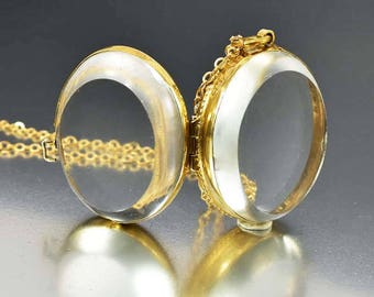 Antique Crystal Pools of Light Locket Necklace | Large Gold Locket | Bubble Locket | Quartz Crystal Victorian Locket | Photo Locket Pendant
