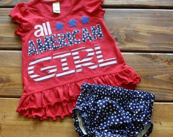 All American Girl Shirt, 4th of July Outfit, Baby Girl Clothes, Independence Day, Patriotic Shirt for Girls, Bloomers, Stars and Stripes