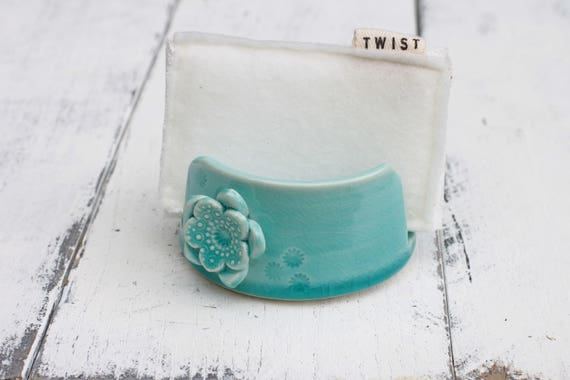 aqua porcelain sponge holder