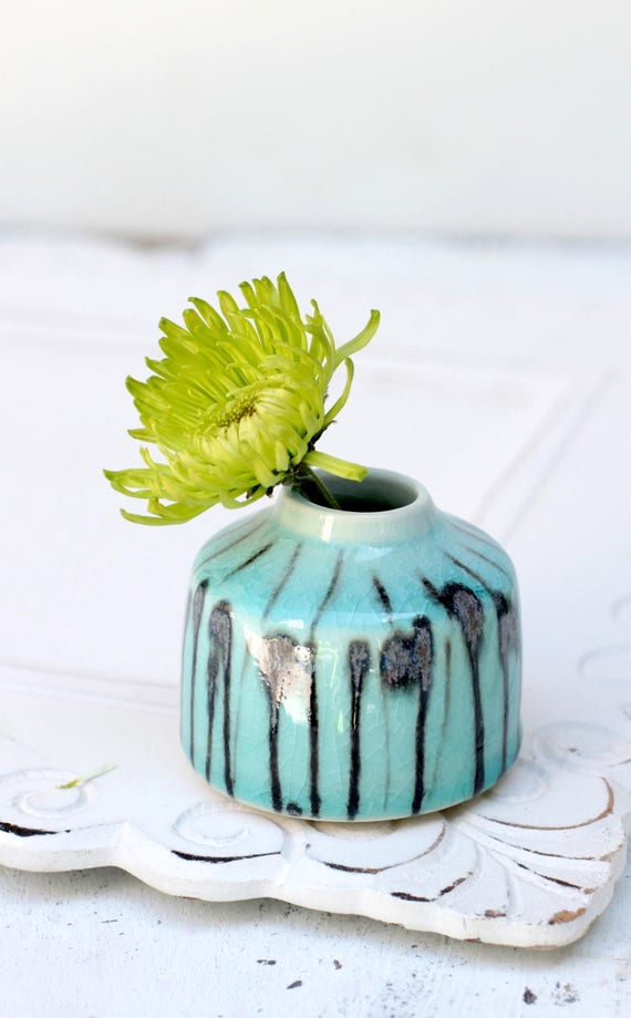 window sill bud vase in aqua and black