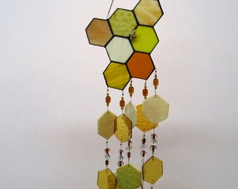 honeycomb stained glass wind chime, beekeeper gift, golden glass beads, honeybee, stained glass honey comb, beehive, glass art, glass honey