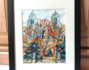 Original Philadelphia Painting Framed, Rittenhouse Square, Philly painting, Black Wood Philadelphia Cityscape  by Gwen Meyerson