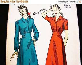 SALE 25% Off Vintage Pattern 1940s Womens Nightgown Pattern DuBarry Plus size 40 Bust UNCUT FF Long Nightgown Empire Waist, Button Front, Ti