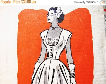 on SALE 25% Off 1950s Dress Pattern Anne Adams Misses size 12 Womens Flared Skirt Sundress with Jacket Vintage Sewing Patterns
