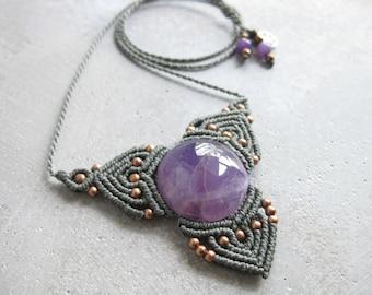 Amethyst Macrame Necklace . Elven Quartz Pendant . Fiber Textile Jewelry . Design by raiz