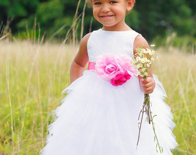 Flower Girl Dress - Tulle Dresses - White Wedding - Pageant dress - Toddler Infant - Custom Colors Available - sizes 18 months to 8 Years