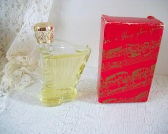 Avon Charisma Cologne 1 oz. with Original Red Box Heavenly Music Harp Bottle 1978, Vintage Avon Harp Bottle, Avon Collectible Perfume Bottle