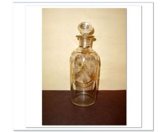 Victorian Edwardian Cologne Decanter Bottle Etched Engraved Gold Decorated Blown Glass Estate 1800's 19th Century