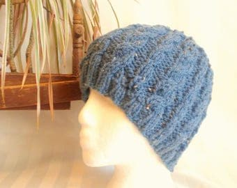 Dark Denim Blue Tweed Hat. Ready to Ship. Hand Knit Cable Beanie. Wool Acrylic Machine Washable Hat. Beanies for Men. Beanies for Women.