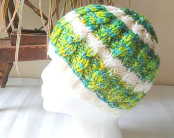 Half and Half Winter Hat. Green. Yellow. Blue. White Stripes. Cable Beanie. Knit Hat. Beanies for Women. Half Handspun and Half Wool Mohair.