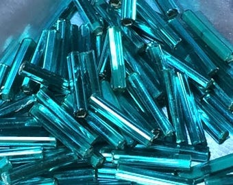 12mm Bugle Beads - Silver Lined Emerald 20 grams