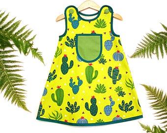 CACTUS GARDEN toddler girl jumper dress size 3 years, girls summer dress, cactus jumper dress, baby girl green dress, tropical girls outfit