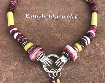 Double  hand charm necklace