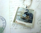 Square Glass Pendant - Recycled Vintage 1991 Australian Stamp - BLACK SWAN - Bird - Chain included
