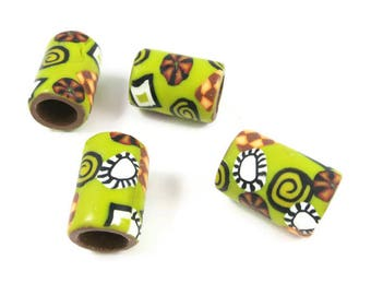 Dark Yellow Dreadlock Bead Dreadlock Jewelry Handmade Polymer Clay Hair Accessories Large Hole Beads 8 mm Opening Boho Hippie