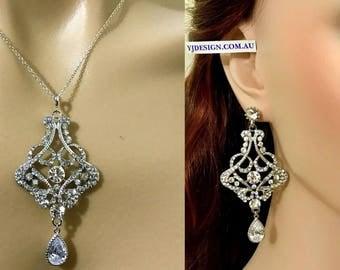 Statement Wedding Jewelry, Art Deco Bridal Necklace, Victorian Chandelier Wedding Earrings, Swarovski Pearl Bridal Jewelry Set, CARMEN
