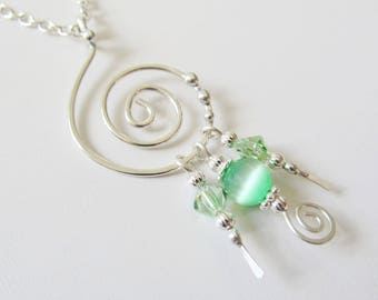 Wire Work Necklace Beaded Pendant Silver Necklace Women's Jewelry Swarovski Crystals