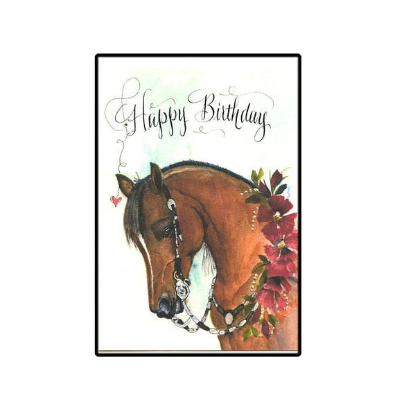 Western Show Horse Birthday Card In Watercolor With