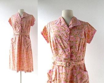 20% off sale Vintage 50s Dress | Pink Zinnias | Floral Print Dress | 1950s Dress | Large L
