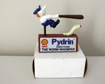 Shell Pydrin Worm Womper Nodder with Box, 1980s Gas Insecticide Advertising Bobber