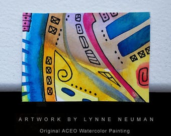 ACEO Original Hand-Painted One-of-a-Kind Abstract Mini Watercolor Painting by Lynne Neuman #4355 OOAK Miniature Small Format Art ATC