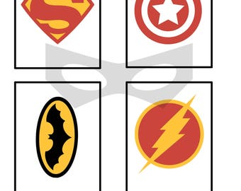 Superhero Scrapbook Journaling Cards, Document Style, Use For Cards, Party Invites, 3x4, Digital, Instant Download, Project Life Inspired
