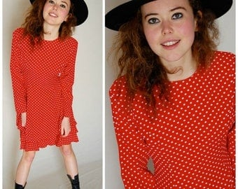 SALE 25% off sundays Polka Dot Dress Vintage Red and White Polka Dot Drop Waist Boho Dress (s m)
