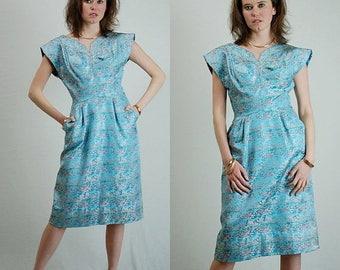 SALE 25% off sundays Brocade Sheath Dress Vintage 50s 60s Light Blue Asian Brocade Pagoda Sheath Dress (s m)