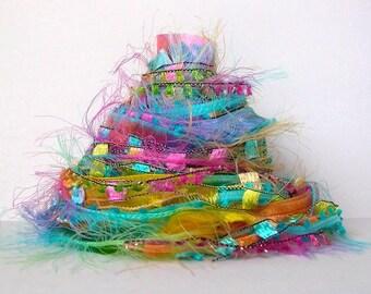 smoothie fiber effects™  12yd novelty art yarn ribbon bundle tropical colors textile fiber art pack . turquoise pink yellow orange green