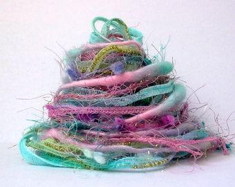 lullaby fiber effects™  12yds novelty art yarn bundle ribbon embellishment textile fiber art pack . pink lavender aqua yellow green sparkle