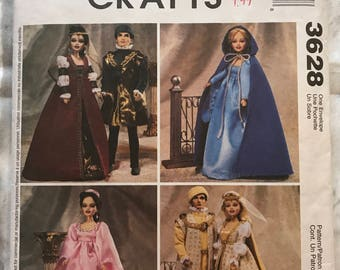 McCall's Crafts Pattern 3628 Renaissance Doll Clothes Cut