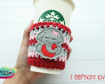 Animal Crochet Coffee Sleeve { Elephant Love } Valentine's day red, gray, pink, cup cozy, knit mug sweater, starbucks, frappuccino holder