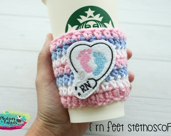 Nurse Coffee cup cozy { RN Stethoscope } medical, nursing student, school coffee sleeve, birthday gift, mug starbucks crochet