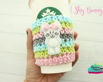 Easter Crochet Coffee Sleeve { Shy Bunny } candy marshmallow, spring cup cozy, knit mug sweater, starbucks gift, frappuccino holder
