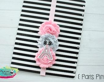 Baby headband or Planner band { Paris Pink } eiffel tower Chic black polkadot elastic notebook closure, happy planner filofax, kikkik