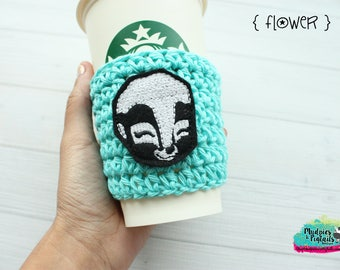 Coffee Cup Cozy { Flower } skunk, black, bambi mint, tsum tsum coffee sleeve, food, birthday, stocking stuffer, mug starbucks, crochet