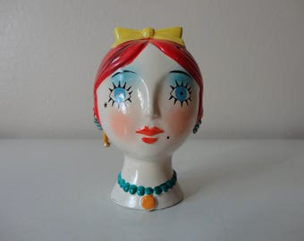 VINTAGE 1960s lady bust POMANDER SACHET - marly new york - with original packaging