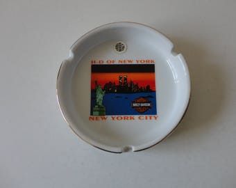 VINTAGE white porcelain ceramic HARLEY davidson motorcycles ASHTRAY - h-d of new york - new york city