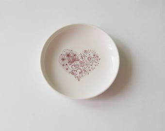 Wedding Ring Bearer -  Ring Bearer Pillow Alternative - Jewelry Dish - Porcelain Dish - Handmade Pottery Dish - Heart Dish
