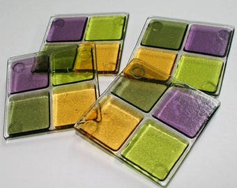 Glassworks Northwest - Olive, Lime, Amber & Purple - Set of 4 Fused Glass Coasters