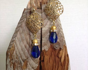 Royal blue and filigree earrings
