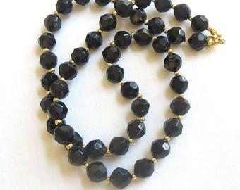 Vintage Black Faux Crystal Bead Necklace