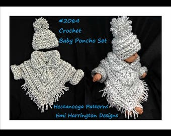 Baby crochet pattern, baby poncho set, crochet baby sweater, hat and poncho, #2054 , crochet for baby, children's clothing