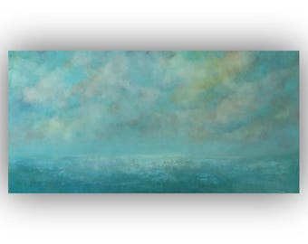 Large Abstract Seascape Oil Painting- 24 x 48 Blue and Yellow Ocean Sky and Clouds Painting- Original Palette Knife Art on Canvas