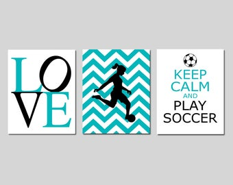Soccer Decor Girl Bedroom Decorations Soccer Wall Art for Girl Room Set of 3 - Chevron Soccer Player, Soccer Quote - CHOOSE YOUR COLORS